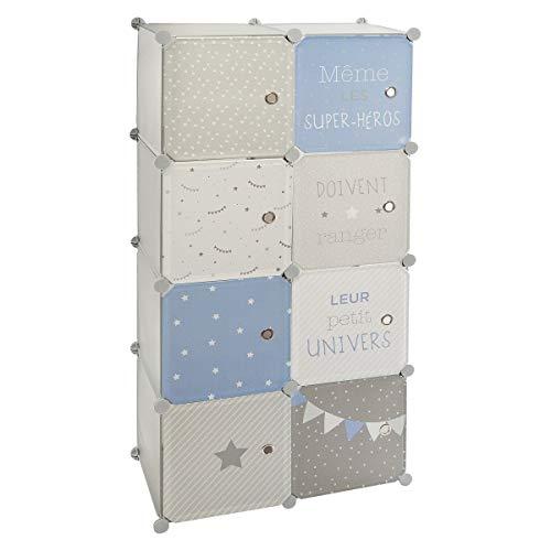 Atmosphera - Armoire avec Rangement et Penderie modulable pour Chambre d'enfant Bleue H 124 cm