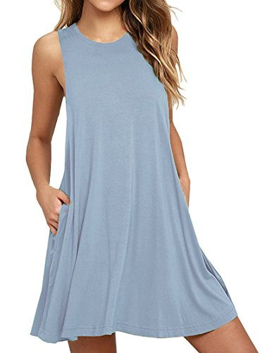 WEACZZY Women Summer Casual Relaxed Strappy Sleeveless Beach Short Mini Dress (Light Blue, M)