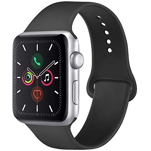 Vancle コンパチブル Apple Watch バンド 38mm 42mm 40mm 44mm シリコン スポーツバンド アップルウォッチ バンド for iWatch Series 5/4/3/2/1に対応 (42mm/44mm-S/M, ブラック)
