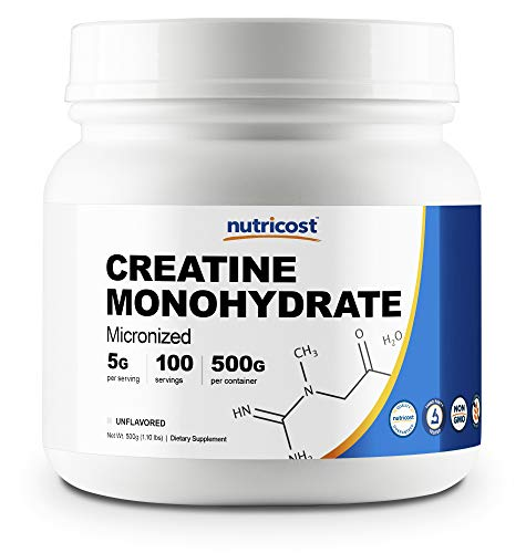 Nutricost Creatine Monohydrate Micronized Powder 500G, 5000mg Per Serv - Pure Micronized Creatine Monohydrate