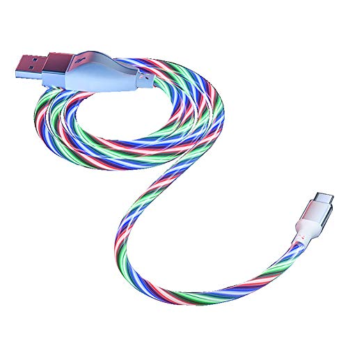 Car Mobile Phone Fast Charging Cable LED Flowing Light Micro USB Data Cables for Iphone Samsung Galaxy Huawei Xiaomi Phone Accessories,Blue,Type C 1m