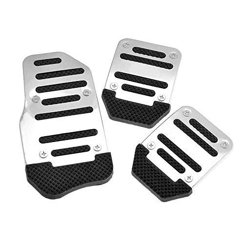 Fundas de pedal de antideslizantes, de aleación de aluminio para coche manual y automático, estilo deportivo, color plateado