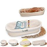 Lunata -Upgrade 2019- Cesto de Fermentación, incluye 16 sabrosas Recetas para Hornear (PDF), el Cesto ideal para fermentar la Masa de Pan, de Ratán natural (oval | 28 cm); con forro de lino