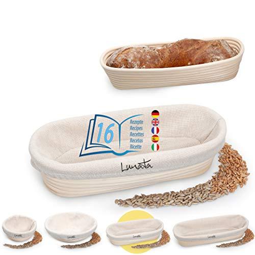 Lunata  Upgrade 2019  Cesto de Fermentación, incluye 16 sabrosas Recetas para Hornear (PDF), el Cesto ideal para fermentar la Masa de Pan, de Ratán natural (oval | 28 cm); con forro de lino