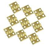 DOITOOL 50 Piezas Mini bisagras de latón con 200 Piezas Tornillos pequeñas bisagras para Caja de Madera gabinete de Muebles en Miniatura