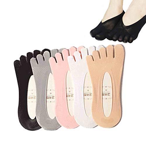 LINPING 5PCS Calcetines de compresión ortopédicos Calcetines de dedo del pie para mujer Forro de corte ultrabajo con lengüeta de gel