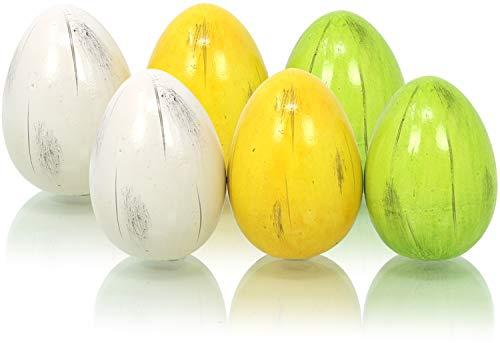 com-four® 6X Keramik Eier - Ostereier Osterdekoration für draußen und drinnen - Frühlingsdekoration (06 Stück - Keramik-Ei klein/6.5cm)
