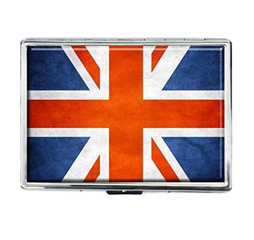 Zigarettenetui, UK-Flagge, modisch, personalisierbar, Edelstahl, groß, für Zigaretten, Spender, Karten-Box, Aufbewahrungsbox, für Damen und Herren