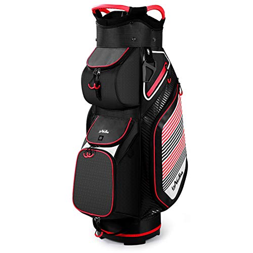 Golf Cart Bag with 14 Way Organizer Divider Top, Lightweight Golf Bags for Man Woman with Cooler Pouch, Backpack Strap (Black/Red)