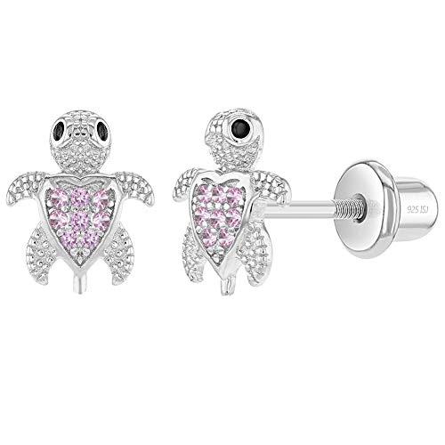 In Season Jewelry - Mädchen Säugling - Schraubverschluss Ohrringe Kleine Schildkröte Herz 925 Sterling Silber Rosa CZ Zirkonia