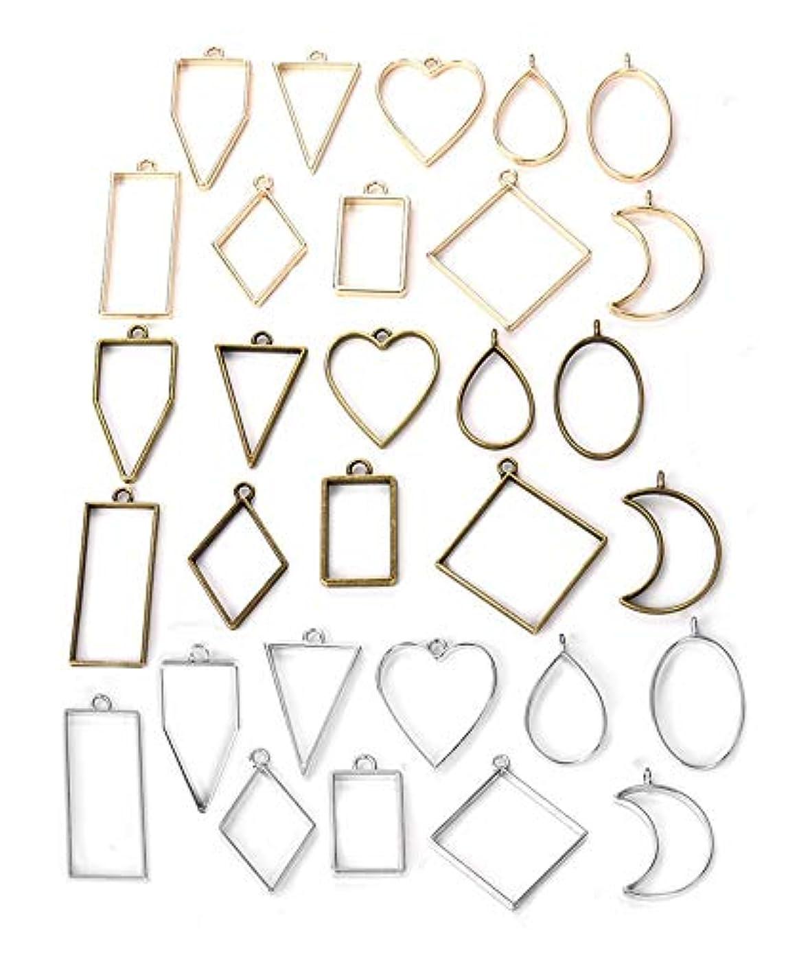 MosBug 30PCS Bezel Charms Pendants Open Back Bezel Pendants Hollow Mold Pendants Assorted Geometric Hollow Pressed Flower Frame Pendant DIY Crafts for Resin Earrings Necklace Bracelet