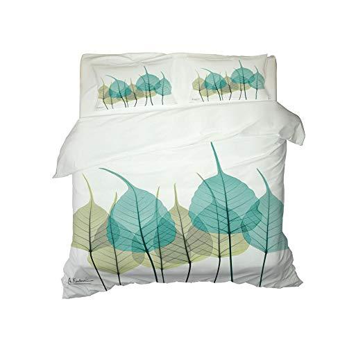 Kekeyt Duvet Cover Sets Fresh Pattern Leaves Bed Sheets Double Bed Set Grey Kingsize Duvet Cover Sets 3D Hd Printing 200 X 200 Cm-Cotton adult children's bedding