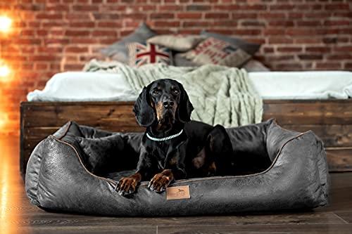 tierlando Orthopädisches Hundebett Alberto Vintage Velours | Waschbar | Vintage Antik Style (AB6 | 150x100 cm (Innen 120x70 cm), 02 | Grau Anthrazti)