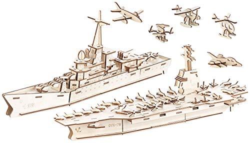 Playtastic Holzbausatz Kinder: 3er-Set 3D-Bausätze Marine-Schiffe & Luftflotte aus Holz, 233-teilig (Modellbausätze Holz)