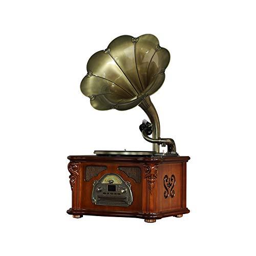 GOM Giradischi, Retro Grammofono a 3 velocità 33/45/78 Giri Supporto Lettore CD Riproduzione Bluetooth Uscite Sub Porta USB GOM-008 (Color : Brown, Size : Desktop)