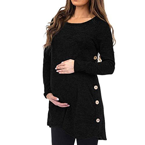 Ucoolcc Tunique de Grossesse Pull Hiver Femme Enceinte Pas Cher a la Mode Chic Chemise Manche Longue Printemps Maternité T Shirt Grossesse Blouse Solide