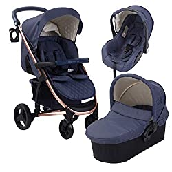 Adjustable back rest, suitable from birth to maximum 15kg, lockable front swivel wheels, lightweight & strong aluminium chassis Easy compact fold technology, height adjustable handle, includes detachable bassinet for newborns, extendable 3 position c...
