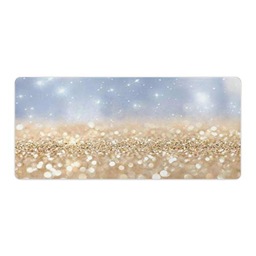 Custom Faux Rose Pink Glitter Ombre White Marble Desktop and Laptop Mouse pad 1 Pack 800x300x3mm/31.5x11.8x1.1 in