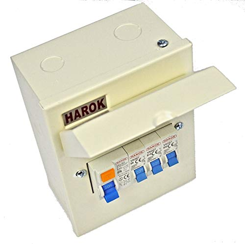 Harok - Metal Mini Garage Consumer Unit Complete with 63a RCD & 3 MCBs (6a,16a & 32a)