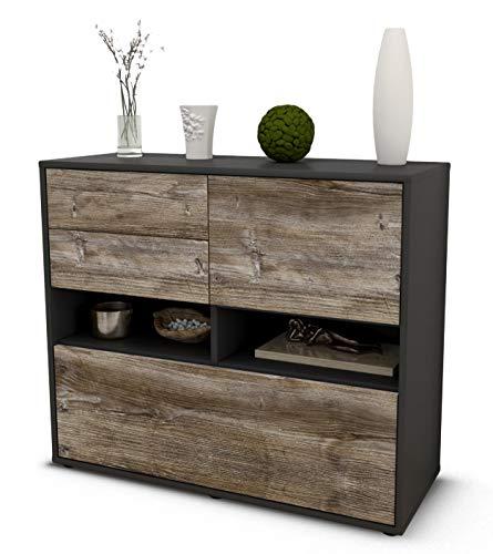 Stil.Zeit Sideboard Cornelia/Korpus anthrazit matt/Front Holz-Design Treibholz (92x79x35cm) Push-to-Open Technik & Leichtlaufschienen