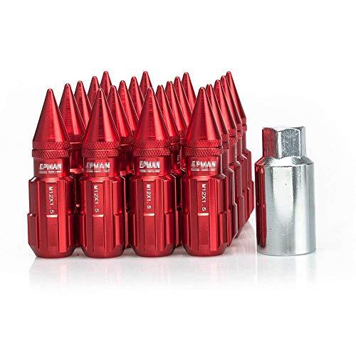 LIDAUTO Radmuttern Rad Muttern Diebstahlsichere Schraube Rennsport-Zubehör Aluminiumlegierung 24MM / M12 * 1,5, M12 * 1,25,red,M12*1.5