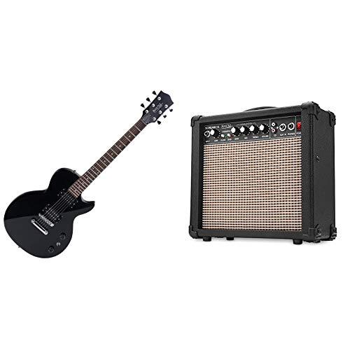Rocktile LP-100 E-Gitarre (Linde, Palisander Griffbrett, Schwarz High Gloss) & Scream 15 Gitarrenverstärker Mini Combo Amp (15 Watt Amplifier, 2-Kanäle, Portable, AUX-In für MP3/CD, 3-Band Equalizer)