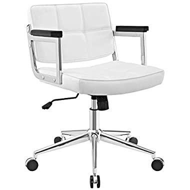 Modway Portray Mid-Back Upholstered Vinyl Modern Office Chair in White