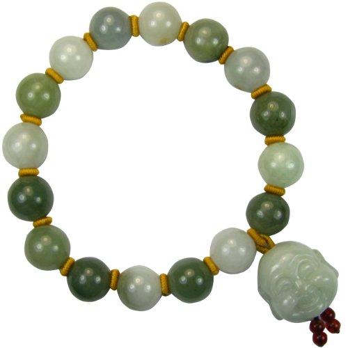 Dahlia Laughing Buddha Jade 12mm Bead Bracelet Genuine Certified Grade A Jadeite, 8'