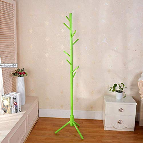 AOIWE Coat Stand Rack Wooden Coat Rack with 8 Hooks Floor Hanger Suitable for Bedroom Living Room and Office (Color : Green)