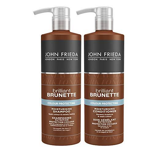 John Frieda Brilliant Brunette Value Set - 2 x 500 ml Shampoo und 2 x 500 ml Conditioner - Sondergröße - Mit Pumpspenderaufsatz - Mit süßen Mandeln - Farbschutzserie