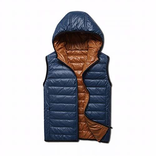 Chaleco cálido de invierno para hombre, chalecos hinchados al aire libre, forro de nailon grueso con capucha, sin mangas, se puede llevar en ambos lados (color: azul, tamaño: mediano)