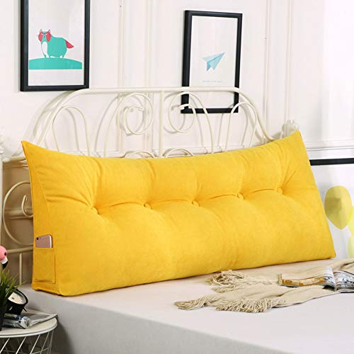 Z&H Queen Bed Twin Big Long Reading Pillow Cushion,Removable Headboard Cushion Pillow Backrest Cushion Large Waist Pillow For Bed Sofa Tatami Yellow 150 * 50 * 23cm (59 * 20 * 9')