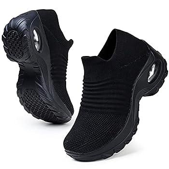 HKRNon Slip Work Shoes for Women Comfortable Slip On Wide Platform Walking Tennis Sneakers All Black Size 5.5 US  ZJW1839quanhei35