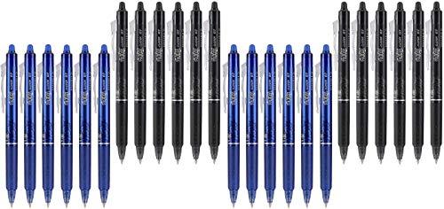 Pilot FriXion Clicker 0.7mm, Erasable Gel Pens, Fine Point, 6 Black & 6 Blue (12 Pens)-2 Pack