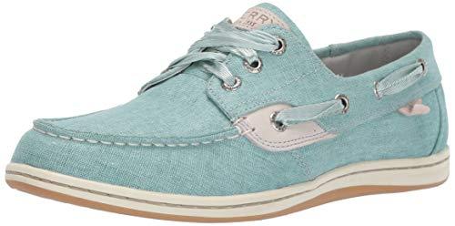 Sperry Women's Songfish Linen Boat Shoe, Aqua, 11