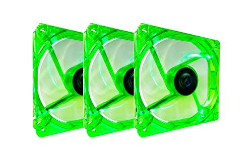 Apevia CF312SL-UGN 120mm 4pin Molex + 3pin Motherboard Silent Green LED Case Fan (3-pk)