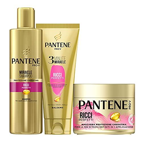 Pantene Pro-V Ricci Perfetti 1 Miracle Shampoo 250ml + 1 Balsamo Capelli 3 Minute Miracle 150ml +1 Maschera...