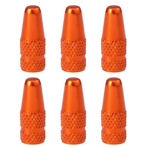 VORCOOL 6pcs Casquillos de la válvula de la Bici de aleación de Aluminio de Estilo francés Tapas de válvula de neumáticos de Bicicleta Cubiertas de Polvo Naranja