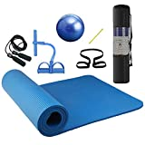 Roeam Yoga Set, Yogamatte Gymnastikmatte Sportmatte Fitnessmatte Training Mat 10mm Dicke mit Gymnastikball Springseil und Knöchelabzieher, Fitness Geräte, 4pcs/Set