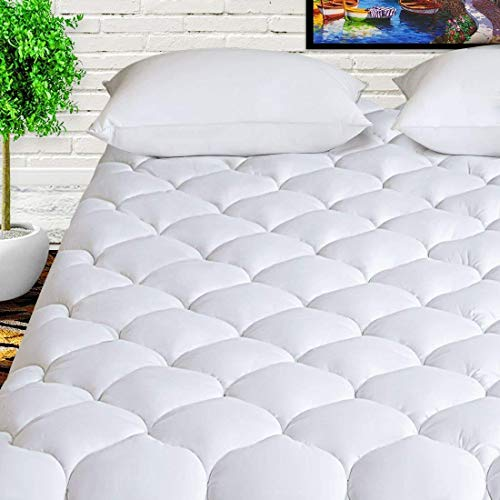 "HARNY Mattress Pad Cover King 400TC Cotton Pillow Top Cooling Breathable Mattress Topper Quilted Fitted with 8-21"" Deep Pocket"