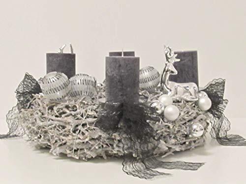 Adventskranz in Schwarz Weihnachten Kerzen Engel Weihnachten Kranz Holz Gesteck Glas Sterne Kugeln