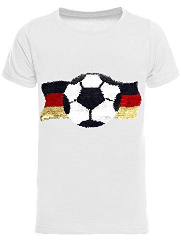 BEZLIT Deutschland Jungen Kinder Wende-Pailletten Fussball WM 2018 Fan T Shirt 22513 Weiß Größe 140