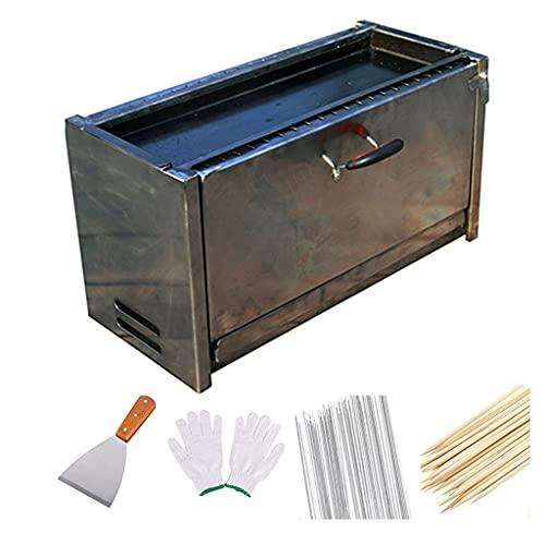 NC Gril au Charbon de Grande capacité, Grille de boîte à Outils Portable, épaississement sans fumée adapté à la Cuisine en Plein air Pique-Nique Trois Couleurs carré en Option 60 X26 X32 cm LKWK