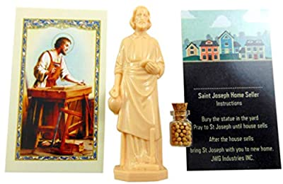 Amazing Saints Saint Joseph Home Seller Kit 3 inch Statue with Instruction Card Prayer Card and Mustard Seeds