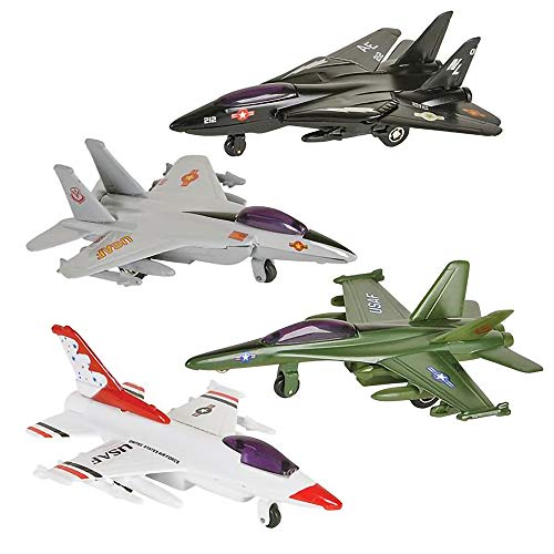 ArtCreativity Diecast Fighter Jets, Pullback Mechanism, Set of 4, Die Cast Metal Jet Plane Fighter Toys for Boys, Air Force Military Cake Decorations, Pull Back Airplane Party Favor, 4 Colors