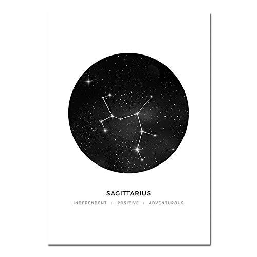 QZQ Sternbilder Kindergarten Wandkunst Leinwand Malerei Sternzeichen Astrologie Zeichen Schwarz Weiß Poster Drucken Nordic Kinder Dekoration Bilder Kein Rahmen@20x25cm_SCHÜTZE