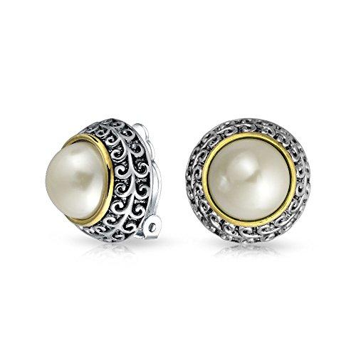 Dos Tonos Estilo Simulado Domo Blanco Perla Pendientes Clip Mujer No Oreja Perforada Aleación Plata Chapada En Oro