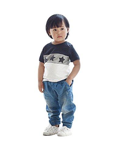 ホワイト キッズ8 親子 Tシャツ お揃い 半袖 ペアルック 海辺 ファミリー 星 [9065]