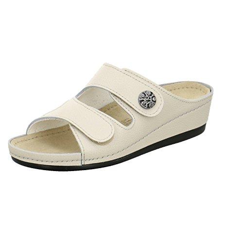 AFS-Schuhe 2095H, Comfort Pantolette Hallux Damen, hochweriges, echtes Leder, mit Klettverschluss und Keilabsatz Größe 39 EU Beige (Creme)