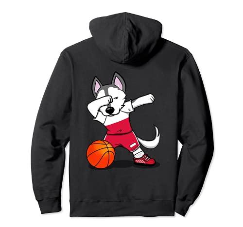 面白いハスキー犬ポーランドバスケットボールファン-ポーランドの旗スポーツ愛好家 Poland Basketball パーカー